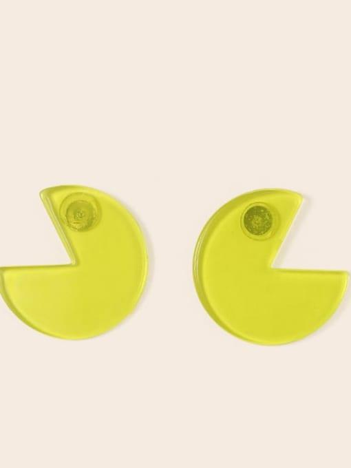 Yellow bean Eater  2.9cm*3.2cm Alloy Acrylic Round Cute Stud Earring