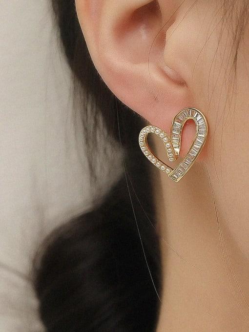 HYACINTH Brass Cubic Zirconia Heart Cute Stud Trend Korean Fashion Earring 1