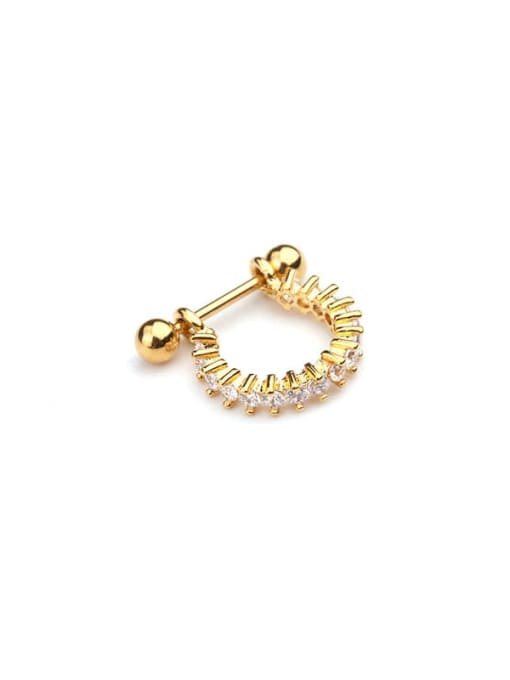Gold 4# Brass Cubic Zirconia Irregular Minimalist Huggie Earring