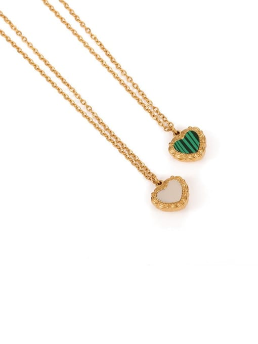 Five Color Brass Shell Heart Minimalist Necklace 4
