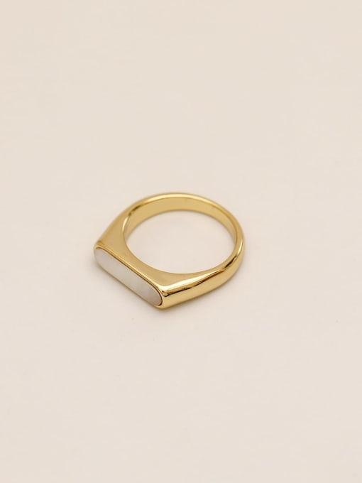HYACINTH Brass Shell Geometric Minimalist Band Ring 4