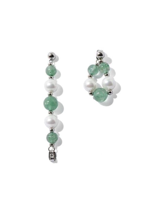TINGS Brass Glass Stone Round Hip Hop Drop Earring