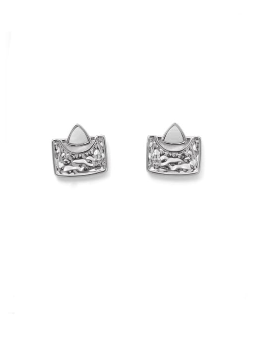 Platinum Brass Shell Geometric Hip Hop Stud Earring