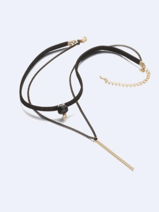 Desoto Brass Leather Tassel Minimalist Multi Strand Necklace