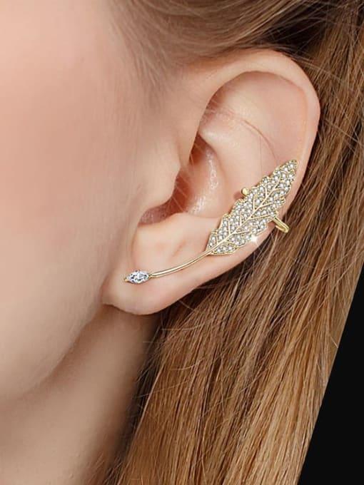 OUOU Brass Cubic Zirconia Asymmetric Leaf Cute Stud Earring 1