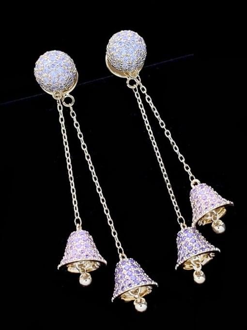 SUUTO Brass Cubic Zirconia Bell Luxury Threader Earring 1