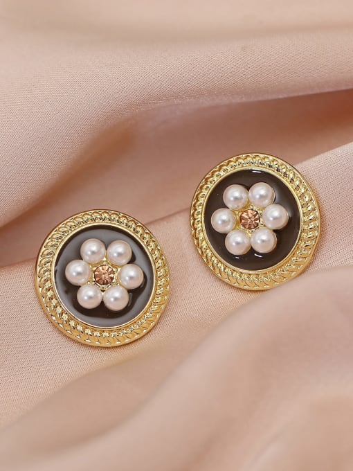 14k Gold Brass Imitation Pearl Flower Vintage Stud Earring