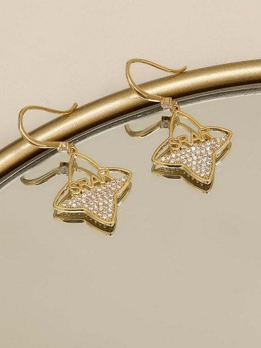 HYACINTH Copper Cubic Zirconia Flower Minimalist Hook Earring 2
