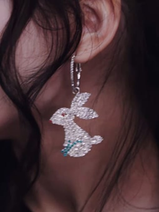 SUUTO Brass Cubic Zirconia Rabbit Luxury Cluster Earring 2