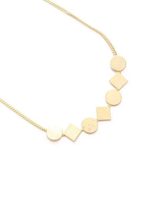 Round square Necklace Brass Geometric Minimalist Necklace
