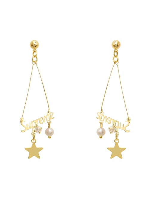 14K gold Copper Cubic Zirconia Face Vintage Drop Earring