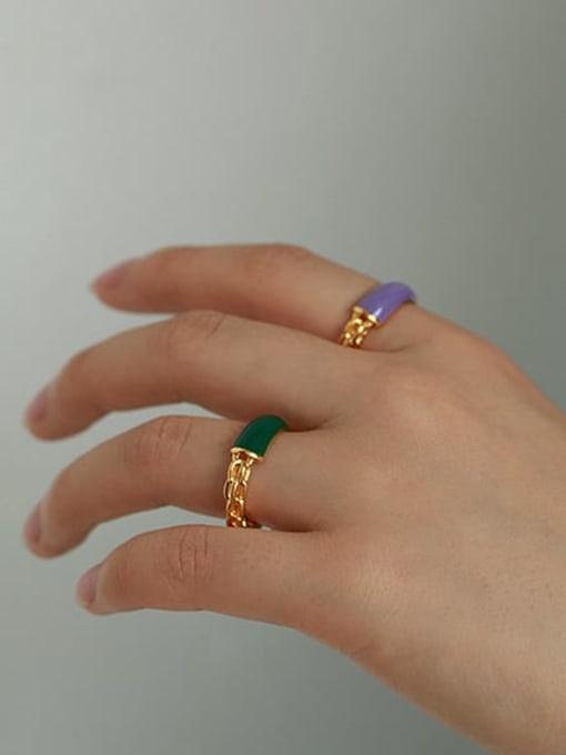 ACCA Brass Enamel Geometric Minimalist Band Ring 1