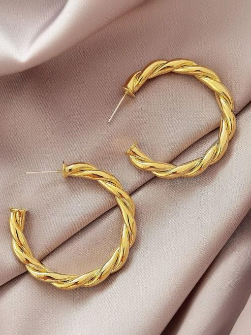 14k Gold 40mm Brass  Twist Geometric Vintage Hoop Earring
