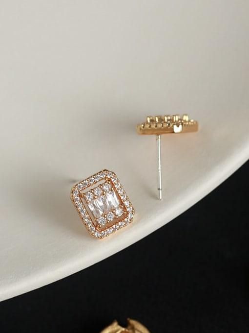 Five Color Brass Cubic Zirconia Geometric Vintage Stud Earring 2