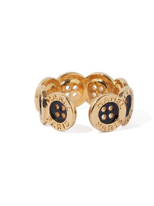 ACCA Brass Enamel Irregular Vintage Band Ring 3