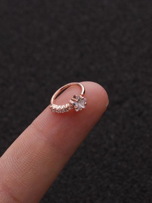 Rose Gold Star(Single) Brass Cubic Zirconia Heart Cute Huggie Earring