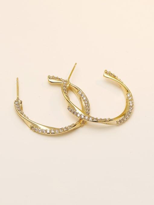 HYACINTH Brass Cubic Zirconia Geometric Hip Hop Hoop Earring 2