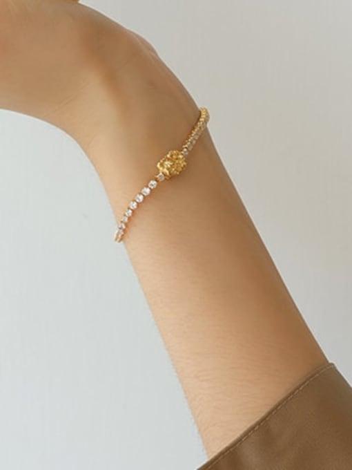 Five Color Brass Cubic Zirconia Geometric Hip Hop Link Bracelet 1