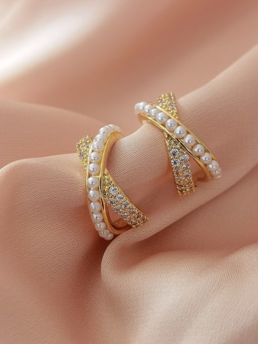 HYACINTH Brass Imitation Pearl Cross Minimalist Stud Earring 0