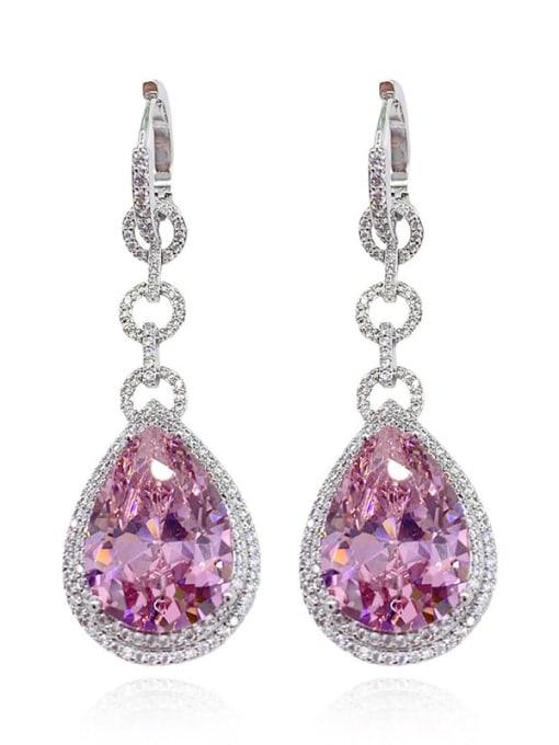 pink Brass Cubic Zirconia Water Drop Vintage Drop Earring