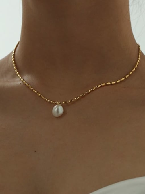 Five Color Brass Imitation Pearl Geometric Vintage Necklace 2