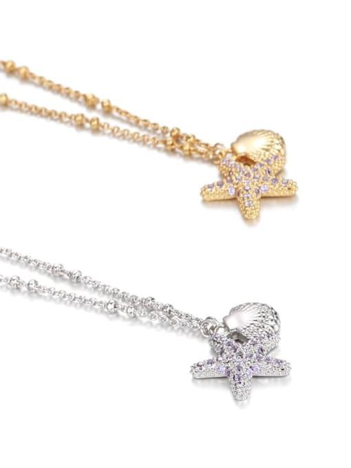 Five Color Brass Cubic Zirconia Star Minimalist Necklace 4