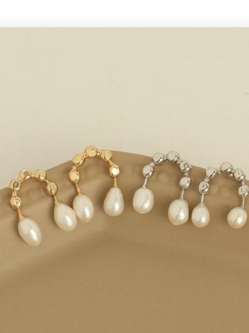 ACCA Brass Imitation Pearl Geometric Vintage Stud Earring 2