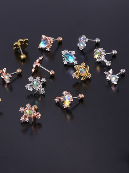 HISON Brass Cubic Zirconia Geometric Hip Hop Stud Earring 3