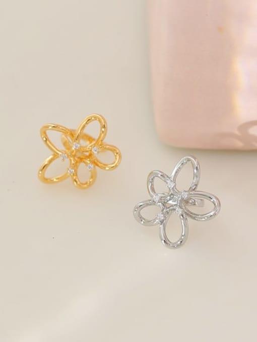 Five Color Brass Cubic Zirconia Flower Minimalist Stud Earring 2