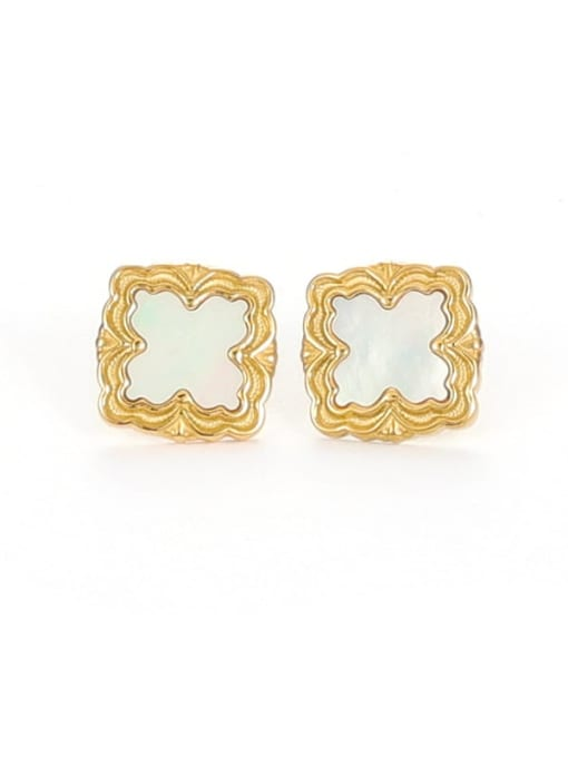 Five Color Brass Shell Square Vintage Stud Earring 3