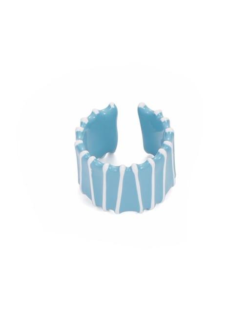 Blue and white stripes Zinc Alloy Enamel Rainbow Minimalist Band Ring