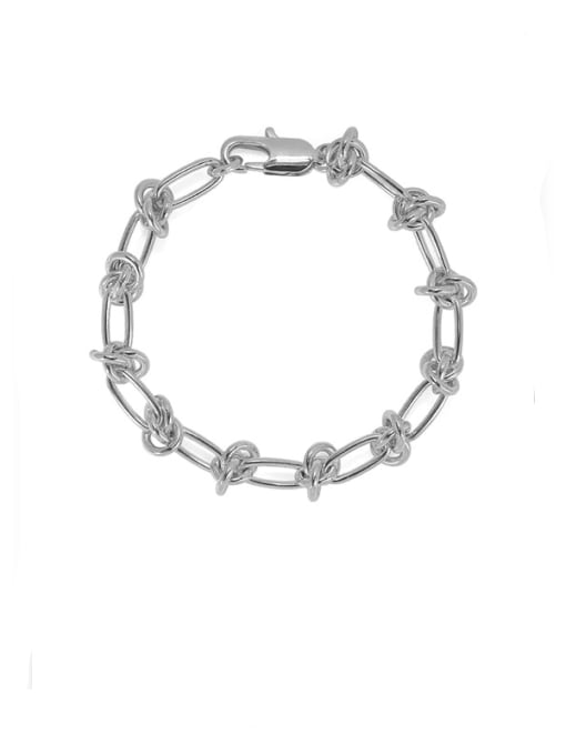 Platinum Brass Hollow Geometric Chain Hip Hop Link Bracelet