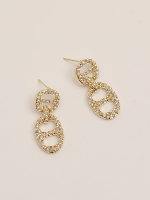 HYACINTH Brass Imitation Pearl Geometric Vintage Drop Earring 3