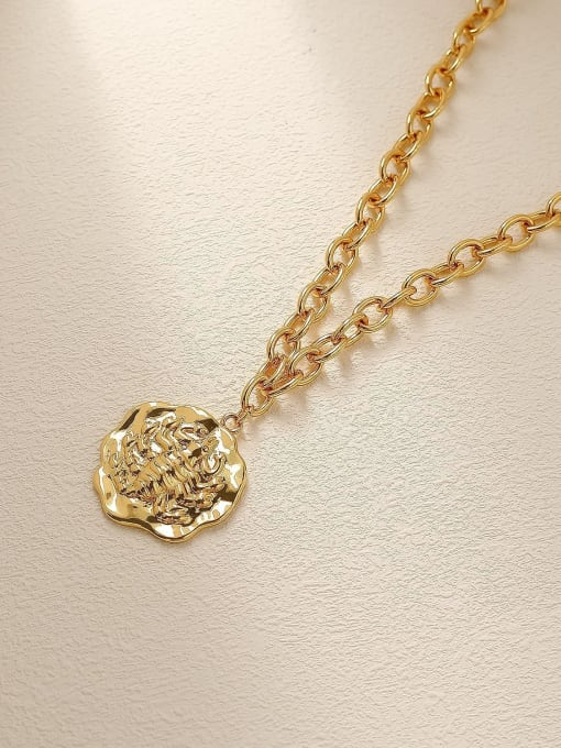 18K gold Brass Vintage Geometric Pendnat Trend Korean Fashion Necklace