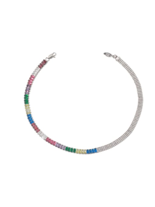 TINGS Brass Cubic Zirconia Rainbow Vintage Necklace 0