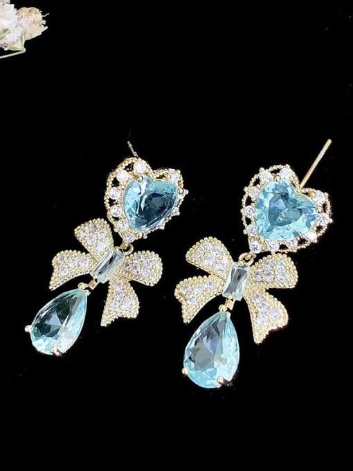 SUUTO Brass Cubic Zirconia Butterfly Statement Drop Earring 2