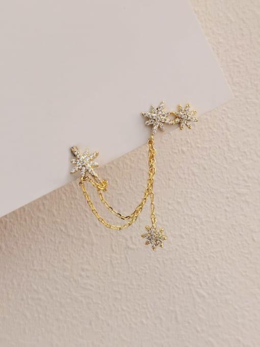 Ear nail and ear bone clip Brass Cubic Zirconia Star Minimalist Ear Cuff Earring