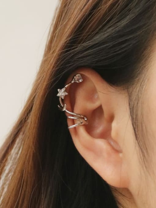 TINGS Brass Cubic Zirconia Star Vintage Clip Earring 1