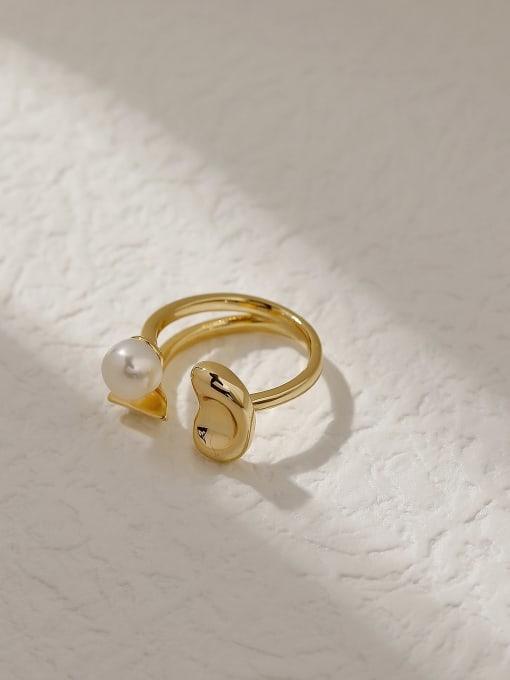 14k Gold Brass Imitation Pearl Geometric Vintage Band Fashion Ring