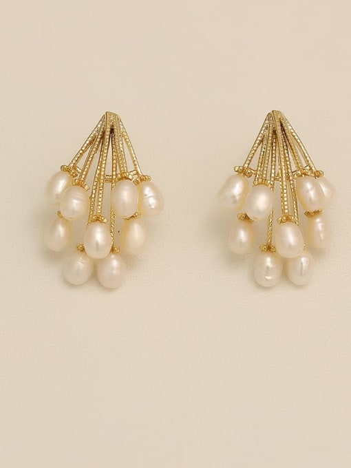 HYACINTH Copper Imitation Pearl Geometric Vintage Stud Earring 1