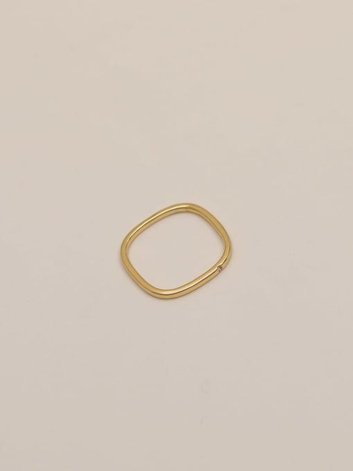 14k gold Brass Rhinestone Geometric Minimalist Band Ring