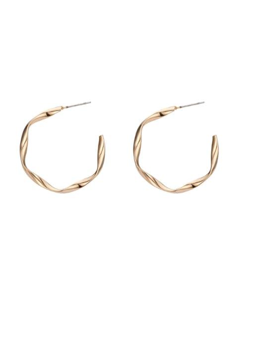 ER52077 3.5CM Brass Geometric Minimalist Hoop Earring