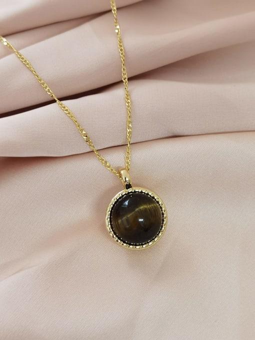 14K golden+ brown wood grain beads Brass Imitation Pearl Geometric Minimalist Necklace