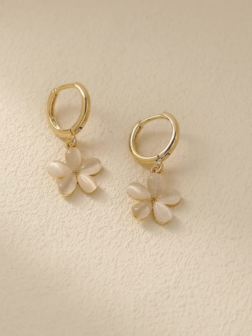 14k Gold Brass Cats Eye Geometric Minimalist Stud Trend Korean Fashion Earring