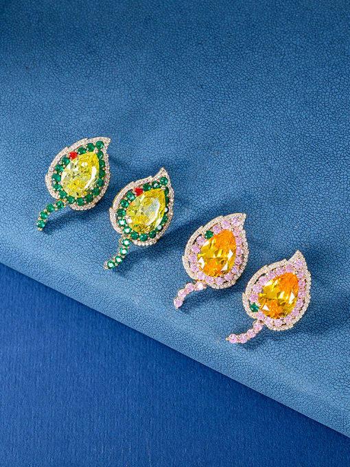 OUOU Brass Cubic Zirconia Heart Luxury Stud Earring 1