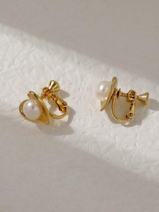 HYACINTH Brass Imitation Pearl Heart Vintage Stud Trend Korean Fashion Earring 2