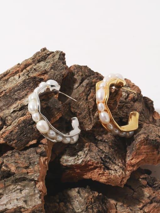 TINGS Brass Imitation Pearl Vintage  C shape Stud Earring 0