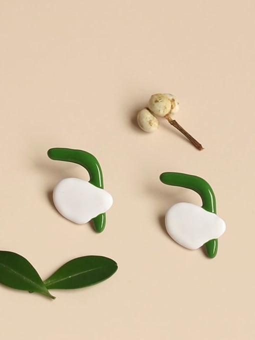 Five Color Alloy Enamel Irregular Cute Stud Earring  (single)