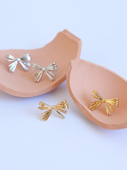 Five Color Brass Rhinestone Bowknot Minimalist Stud Earring 2