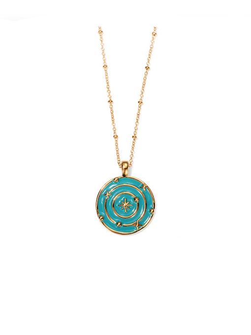 Oil Drop Pendant Necklace Brass Enamel Geometric Hip Hop Necklace